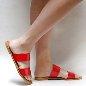 Shoes - New Red Dual Band Open Toe Slip On Sandal Slides